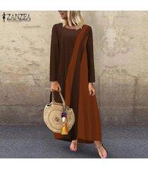 zanzea mujeres más el tamaño de bloque del color del vestido maxi largo de la llamarada del oscilación de la vendimia retro kaftan -café