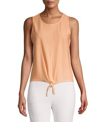 marc new york performance women's knotted mesh top - white - size xl