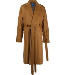 ader error oversized tie-waist coat - brown