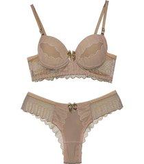 conjunto lingerie vip lingerie microfibra e renda francesa bege - bege - feminino - poliamida - dafiti