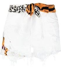 laneus animal-print tie-waist shorts - white