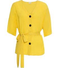 camicetta con cintura in tessuto (giallo) - bodyflirt