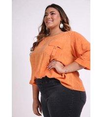 blusa bolso com fivela plus size kauê plus size feminina - feminino