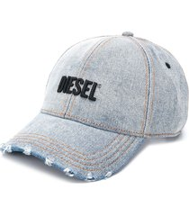 diesel distressed embroidered logo baseball cap - blue