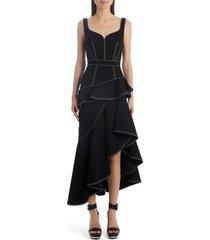 women's alexander mcqueen contrast stitch asymmetrical denim dress