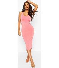 clear strap slinky midi dress, coral
