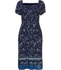 kala smocked midi dress knälång klänning blå superdry