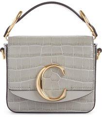 chloe mini c croc embossed leather satchel - grey