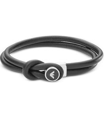 emporio armani designer men's bracelets, leather and steel logo signature men's bracelet