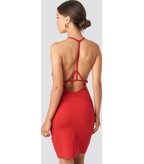 na-kd party deep cross back dress - red