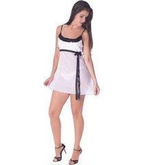 camisola vip lingerie luxo tule - branco