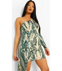 petite gedrapeerde mini jurk met pailetten en eén blote schouder, emerald