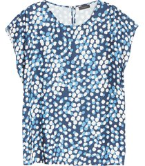 women's halogen cap sleeve blouse, size large - blue
