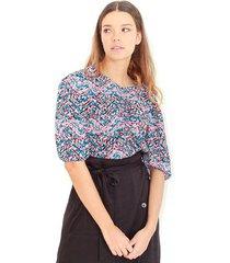 blusa  estampada multicolor, cuello redondo, manga corta, fluida color-multicolor-talla-xs