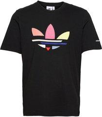 adicolor shattered trefoil tee t-shirts short-sleeved svart adidas originals