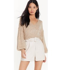 womens warm up to me balloon sleeve sweater - camel