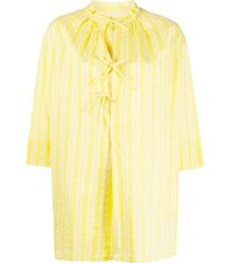 aspesi flared striped blouse - yellow