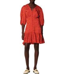women's sandro floral jacquard silk blend dress, size 10 us - red