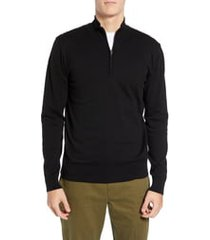 men's french connection stretch cotton quarter zip sweater, size large - black