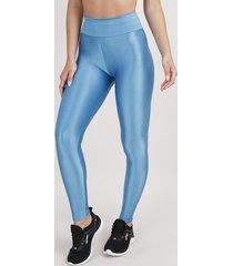 calça legging feminina esportiva ace texturizada azul