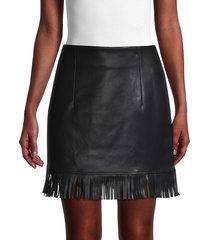 avec les filles women's fringed faux leather skirt - black - size xl