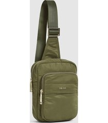 reiss cole - nylon messenger bag in forest green, mens