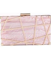 bolsa clutch de acrílico isla galerias marmorizada cor rose quartz