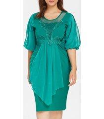 plus size rhinestone embellished mesh panel dress