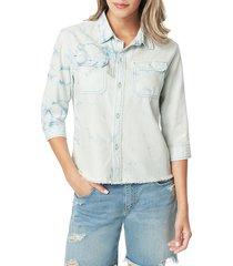 joe's jeans women's tie dye button-down shirt - indigo tie dye - size xs