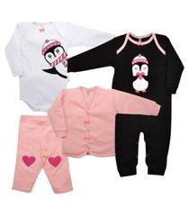 kit macacáo, cardigan, body e calça nigambi pinguinzinha rosa, branco e preto
