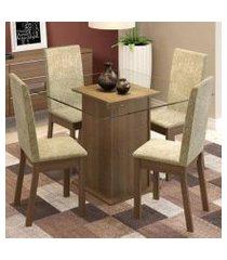 conjunto sala de jantar madesa gabi mesa tampo de vidro com 4 cadeiras rustic/imperial