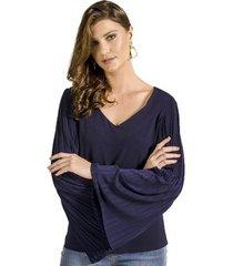 blusa manga plissada alphorria feminina