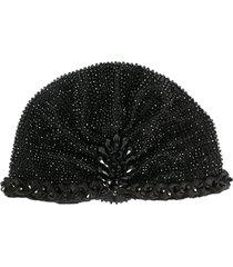 maryjane claverol beaded turban hat - black