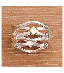 gold accent silver band ring, 'adrift on the sea' (indonesia)