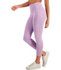 ideology high-waist side-pocket 7/8 length leggings, created for macy's