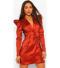 taffeta blazer jurk met pofmouwen en strik, rust