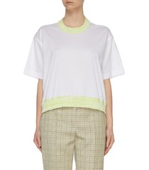 'ampia finiture' colourblock embroidered t-shirt
