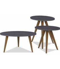 kit com mesa de centro e mesas laterais lyam decor retrã´ preto - preto - dafiti