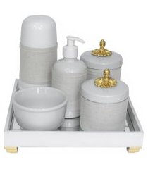 kit higiene espelho completo porcelanas, garrafa pequena e capa provençal dourado quarto bebê unissex