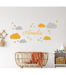 naklejka na ścianę imię + chmurki