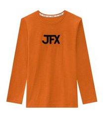 camiseta manga longa terracota johnny fox laranja
