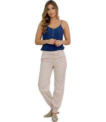 pantalón con cintura y botas resortadas beige 5031