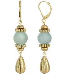 2028 gold-tone genuine stone aventurine drop earrings