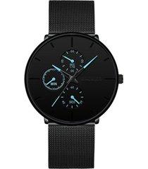 reloj cuarzo hombre informal pulso malla acero deportivo 608 negro azul