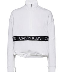 1/4 pullover sweat-shirt tröja vit calvin klein performance