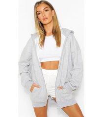 basic hoodie met rits, grey marl