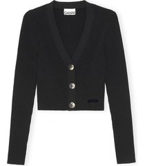 melange knit cardigan in black