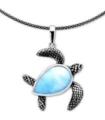 "marahlago larimar turtle 21"" pendant necklace in sterling silver"