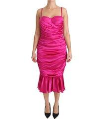 bodycon schede midi silk stretch jurk