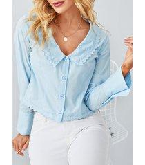 detalles de bordado yoins botón diseño blusa de manga larga con cuello de solapa